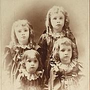 Cabinet Card- Four Sweet Sweet Girls In Curls-Identified