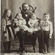 Cabinet Card-  Four Darling Kids With Grandpa