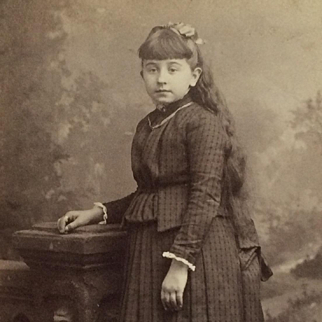 Cabinet Card-  Girl In Pleated Skirt With Long Dark Hair