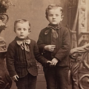 Cabinet Card- Young Brothers Holding Hands