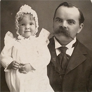 Cabinet Card-Toddler With Frilly White Bonnet And Proud Papa