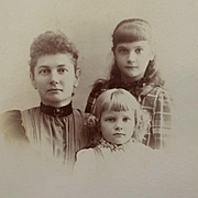 Cabinet Card- A Mother And Two Pretty Young Daughters