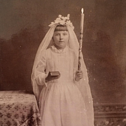 Cabinet Card- Young Girl And First Communion In Pueblo, Colorado