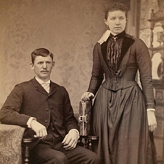 Cabinet Card- Young Victorian Era Couple With Photograph Album