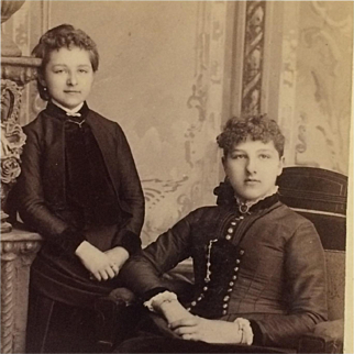 Cabinet Card-  Sisters With Charming Victorian Era Style