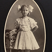 Studio Photograph- Pretty Little Girl With Ribbons On Shoes