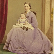 Carte De Visite-Victorian Era Mother And Child-Tinted