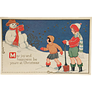 Cheerful Snowman And Two Friends With Shovel - Red Tag Sale Item
