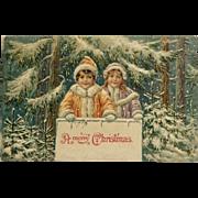 Snowy Christmas Greeting Embossed Postcard