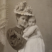 Cabinet Card- Mother In Hat With Baby