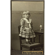 Carte De Visite- Sweet Little Girl With Toy Dog