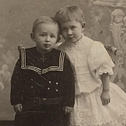 CDV- Sweet Pair Of Children In Sailor Suit And Lacy Dress