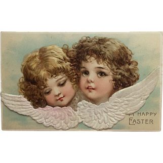 Angel Duo With Embellished Wings- Unsigned Brundage
