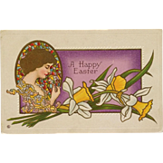 Golden Haired Lady With Easter Daffodil