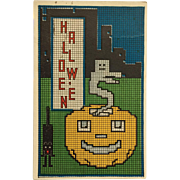 Halloween Cat And Pumpkin Cityscape With Submarine Message