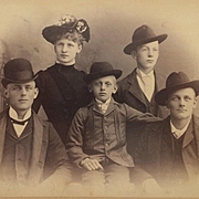 Cabinet Card- The Whole Family In Fine Hat Fashion
