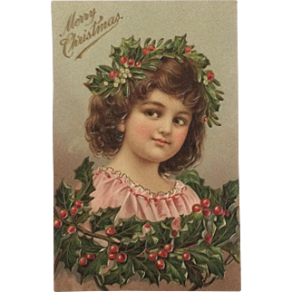 Girl Decked With Christmas Holly-Embossed