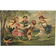 Embossed Postcard- Children Playing Ring Of Roses