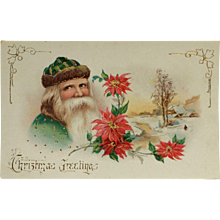 Kind Old World Santa In Green With Poinsettia
