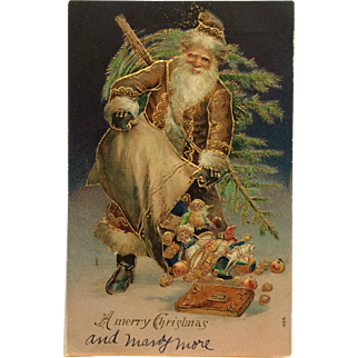Santa In Brown With Midnight Blue Background