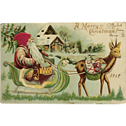 Santa With Silk Hat And Little Reindeer