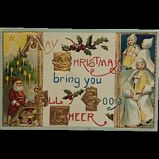 Christmas Santa Cheer- Gold And Shiny