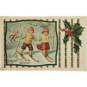 Little Cross Country Skiers With Christmas Wishes
