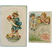 Lot of 2 Trade Cards- Lion Coffee Children At Shore And Children With Doll