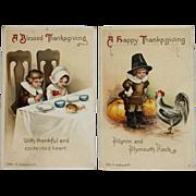 Set Of Clapsaddle Children Celebrating Thanksgiving