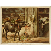 Tuck's Christmas Donkey Card