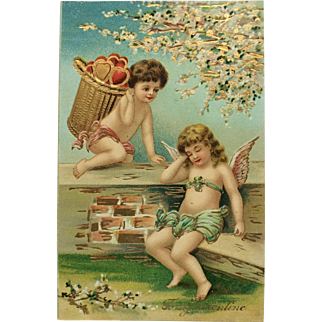 Cupid With Basket Of Hearts