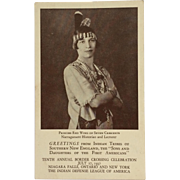 Advertising Postcard- Princess Red Wing Of Seven Crescents And Indian Defense League Of America- 1937
