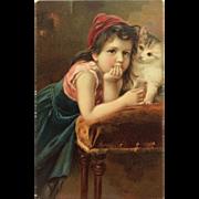 Pensive Girl With Kitten