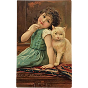 Young Girl With Best Cat Friend