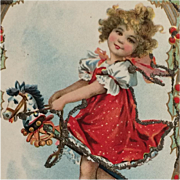 Girl With Christmas Rocking Horse