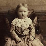 Cabinet Card- Sweet Little Girl In Lace Trimmed Dress