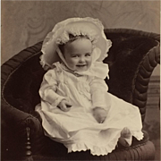 Cabinet Card- Happy Baby In Big Bonnet