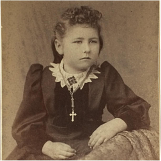 Cabinet Card- Young Girl With Cross Necklace