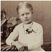 Cabinet Card- Little Girl In White Eyelet Dress