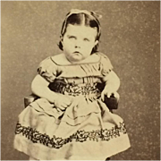 CDV- Little Victorian Girl In Off Shoulder Dress