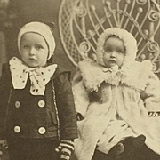 Cabinet Card-Two Real Live Snow Babies