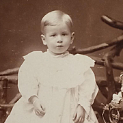 Cabinet Card- Sweet Boy Toddler In White Dress