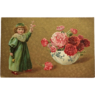 Child With Carnations In Blue Bowl