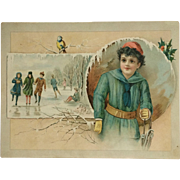 Large Trade Card-Woolson Spice Co. Lion Coffee Christmas Skaters