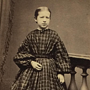 CDV- Victorian Girl In Plaid