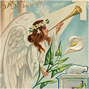Easter Postcard Angel With Musical Good News