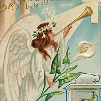Easter Postcard Angel With Musical Good News
