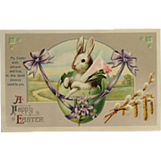 Gentle Embossed Bunny In Egg Swing
