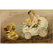 Easter Postcard Cherub In Egg Cart