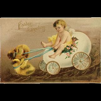 Easter Postcard Cherub In Egg Cart